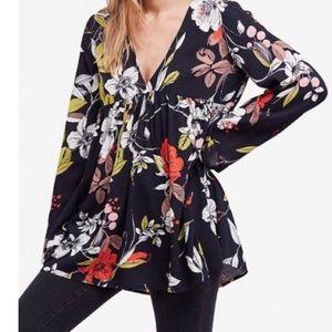 Floral Free People tunic mini dress Large